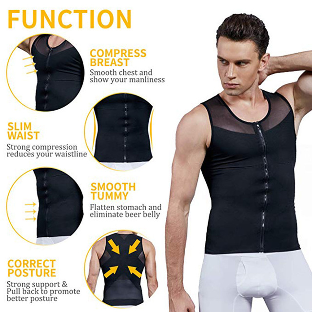 Men Slimming Body Shaper Bodysuit Compression Shirts Waist Trainer Corrective Posture Sweat Vest Corset Man Belly Belt 3