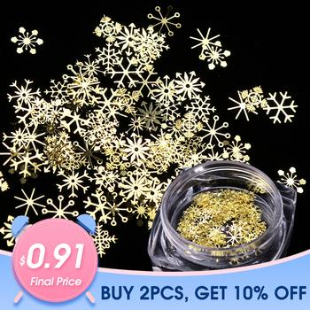 1 Box Nail Glitter boże narodzenie złote płatki śniegu Nail Art cekinami pyłkiem płatki pyłu 3D urocza dekoracja lakier żelowy uv porady JI889 tanie i dobre opinie Full Beauty 90pcs box Nail Art Glitter Powder Paznokci brokat Dazzling Metal Gold Shining Nail Art Glitter Powder Glitter Metal Accessories