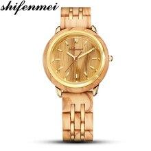 Shifenmei Couple Watches Wooden Watch Top Luxury Brand Full Bamboo Wood Bracelet Quartz Wristwatch for Man Women Relojes Hombre