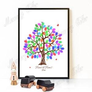 Бесплатная Персонализированная имя Дата DIY Подпись по отпечатку пальца гость книга, холст печать свадебное дерево для вечерние украшения, ч...