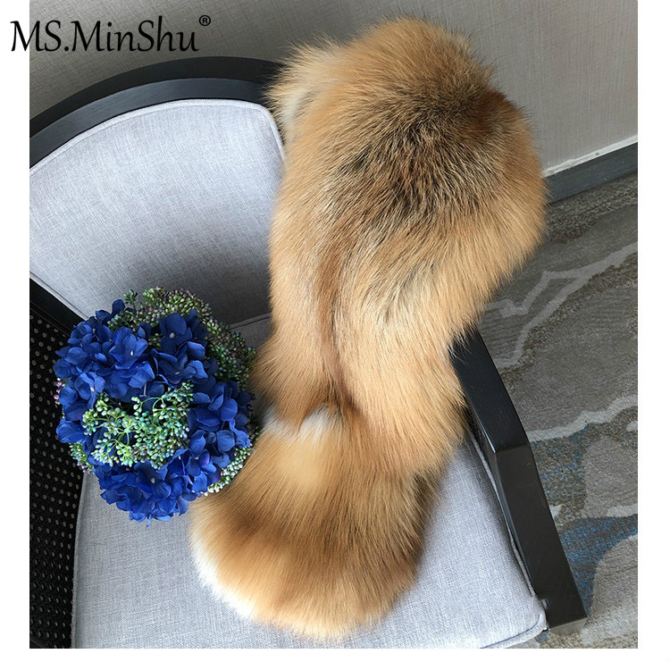 MS.MinShu bufanda de piel de zorro de lujo gran bufanda de piel de zorro Natural estola de piel de zorro genuino chal de bolsillo Vestidos de Noche de moda - 6