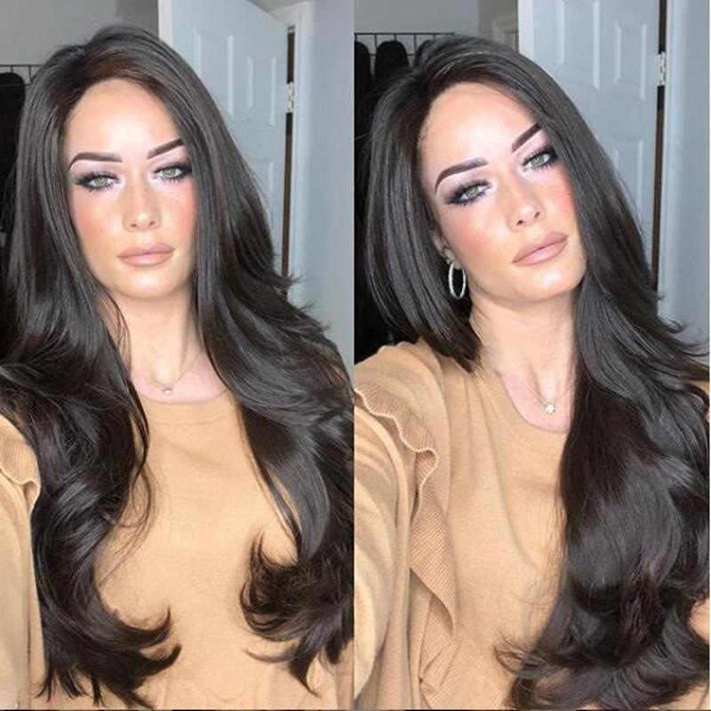 Nowe damskie czarne duże faliste długie włosy kręcone włosy 70cm długa peruka europejska i amerykańska gwiazda peruka Cosplay nakrycia głowy dla kobiet