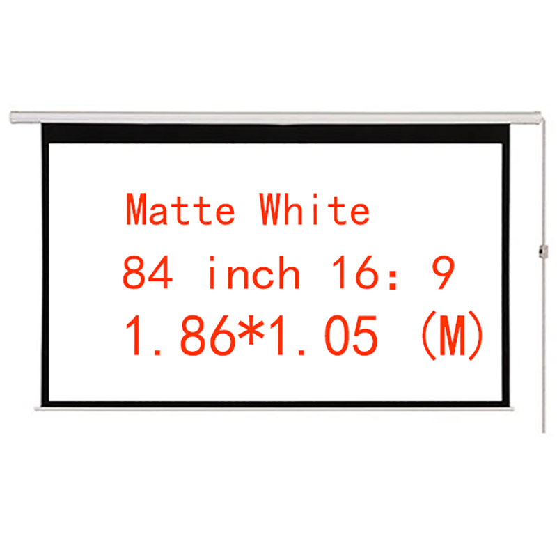 Thinyou Cinema Motorized Projection Screen 84 Inch 16:9 Matt White Projector Electric Screen With Remote For LED DLP Projector