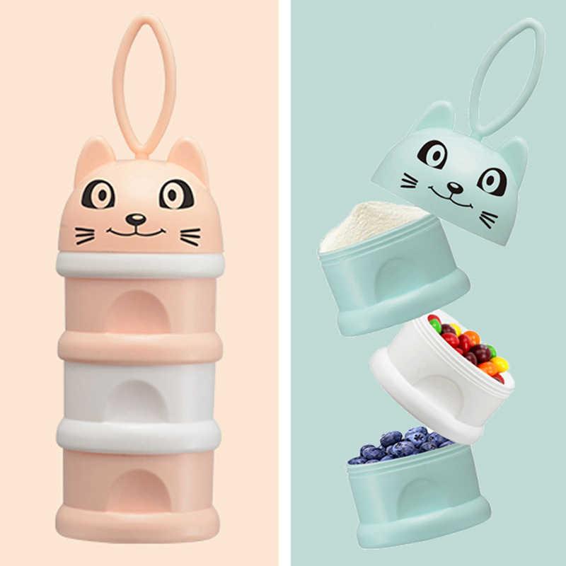 Caja de almacenamiento de alimentos para bebés de Newbon caja de 3 capas portátil de dibujos animados de gato para niños, leche de fórmula, cajas de leche de cereales esenciales en polvo