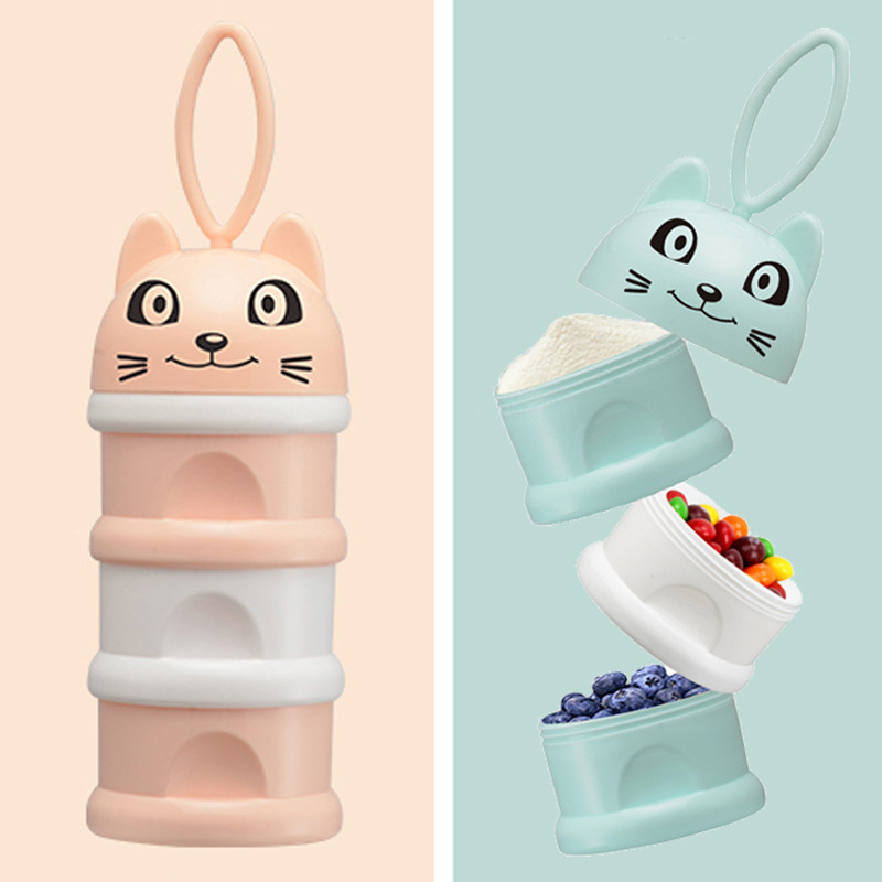 Newbon Baby Food Storage Box 3 Layer Portable Cartoon Cat Infant Kids Formula Milk Container Essential Cereal Milk Powder Boxes