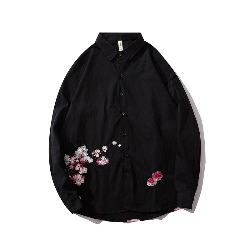 Cherry Blossoms Embroidery Shirts Men Japanese Style Long Sleeve Casual Shirts Male Cotton 2019 Autumn R2080