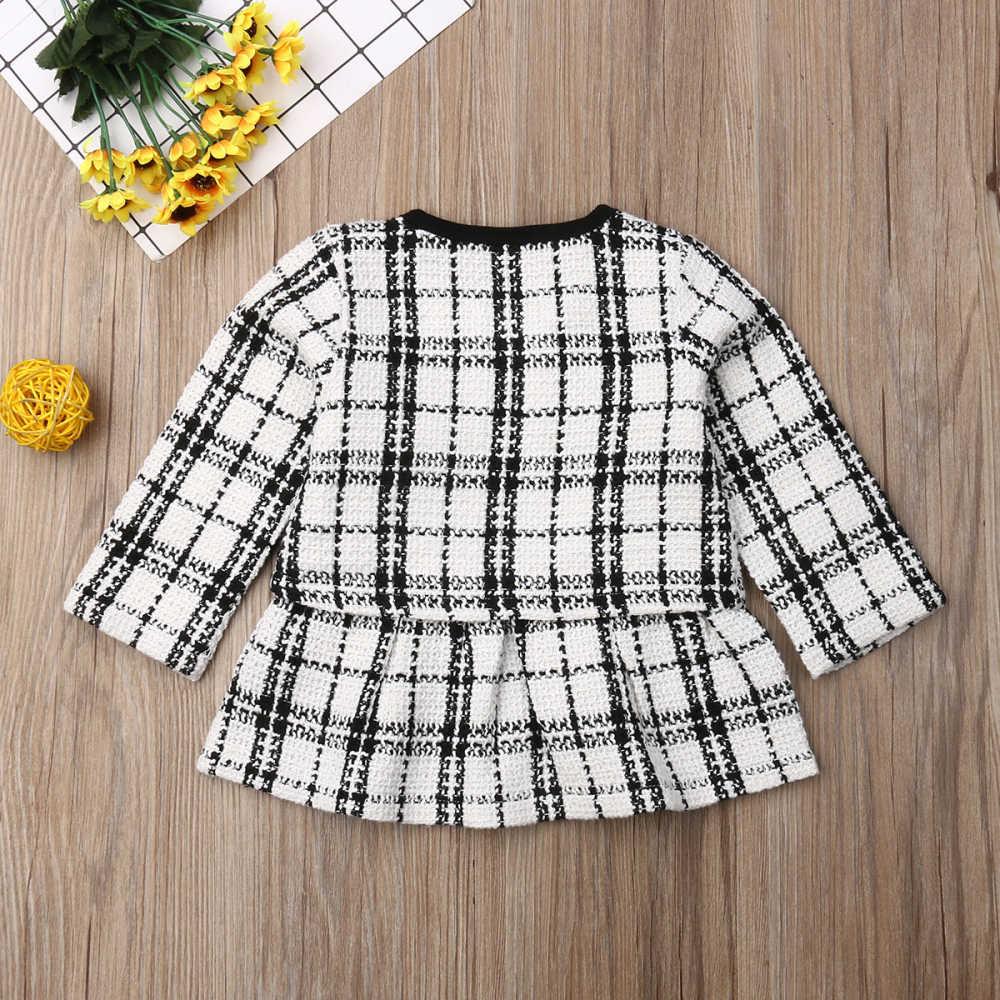 2019 moda 1-6 y conjuntos de Ropa para Niñas cumpleaños de manga larga a cuadros + Vestido 2 uds fiesta traje cálido