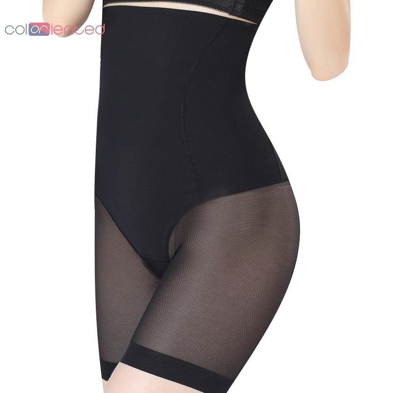 COLORIENTED Mulheres Shapers Do Corpo Da Cintura Elástica de Borracha de Silicone Osso Lateral Malha Roupa Interior Feminina Moldar Calcinha Calças de Malha Rendas