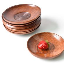 1 Pcs Japanese Style Round Wood Dessert Plate Fruit Dishes Saucer Tea Tray Dessert Dinner Plate Home Tableware Supplies(China)