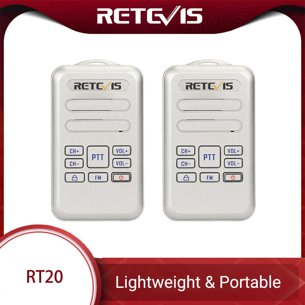 Retevis RT20 Mini Walkie Talkie Radio 2 Pcs 2 W UHF Transceiver VOX FM Radio Tipe-C USB Charge 2 Way Radio Kaki Bicara Comunicador