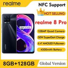 Realme 8 pro 6.4 fffhd amoled 108mp quad câmera 8gb 128gb snapdragon 720g octa núcleo 4500mah 50w super dartcharge nfc telefone móvel