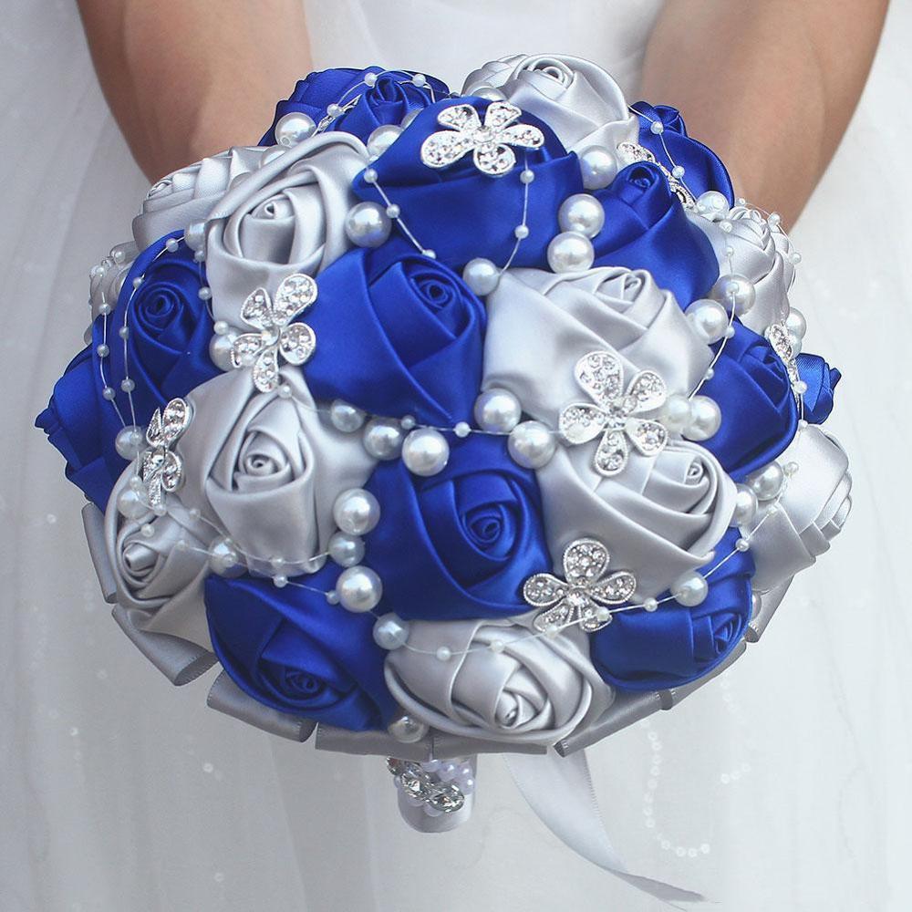 Blue bouquet Rose Bridesmaid Wedding Foam flowers Rose Bridal bouquet Ribbon Fake Wedding bouquet