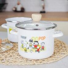 16cm High and thick Enamel Pot Binaural Soup Stew Boiling Milk Hotpot Cookware