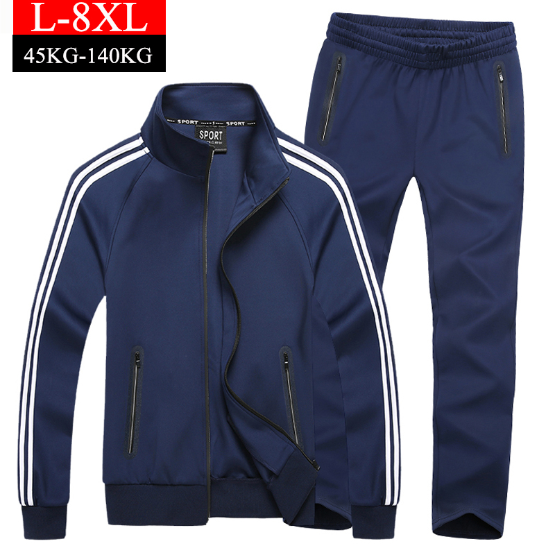 Big Size Sportsuits Men Loose Style Joggers Sportswear Fitness Workout Tracksuit Set Windproof Breathable 7XL 8XL Gym Sport Suit
