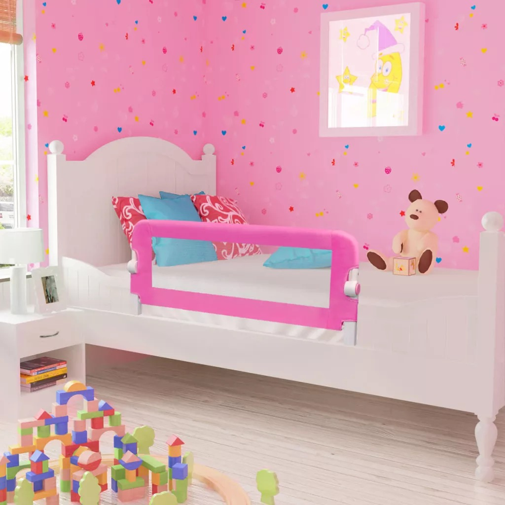 150/cm Folding Bed Child Guard Rail Safety Bed Rail Single Breathable pink Barriers Bed