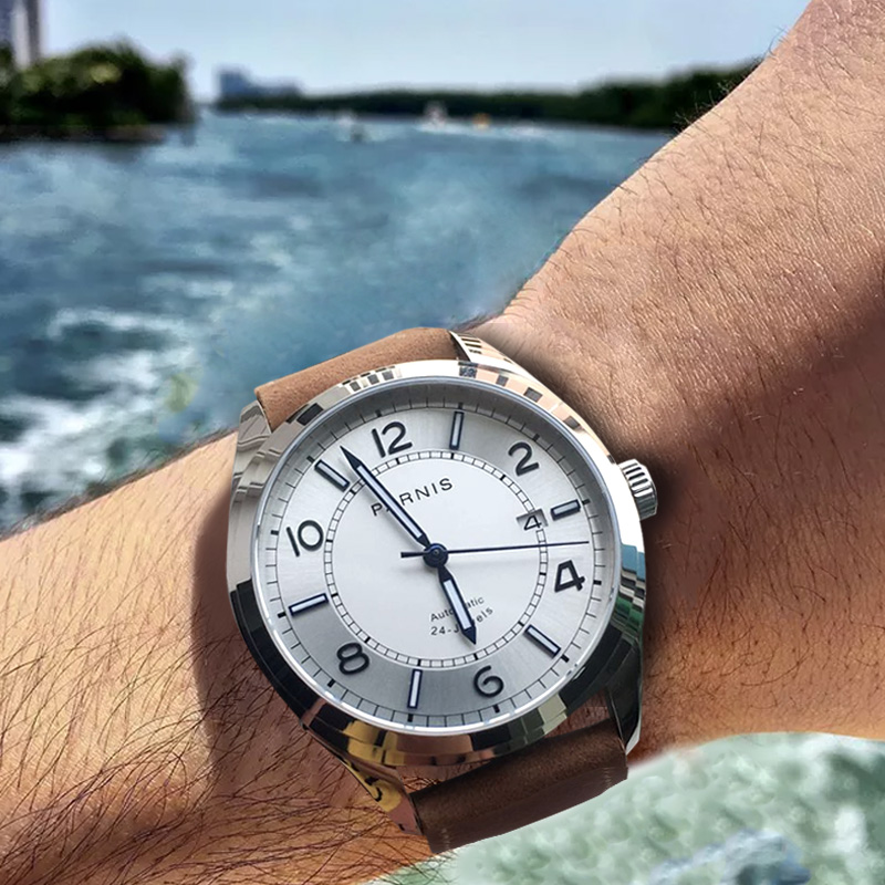 Parnis Mechanical Men Watches Diver Wristwatch Clock Leather Waterproof Sapphire Crystal Auto Date Luminous Automatic watch 2019