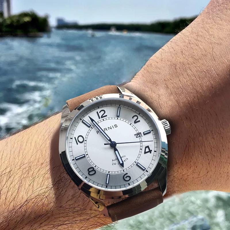 Parnis Mechanical Men Watches Diver Wristwatch Clock Leather Waterproof Sapphire Crystal Auto Date Luminous Automatic watch 2019|Mechanical Watches|   - AliExpress