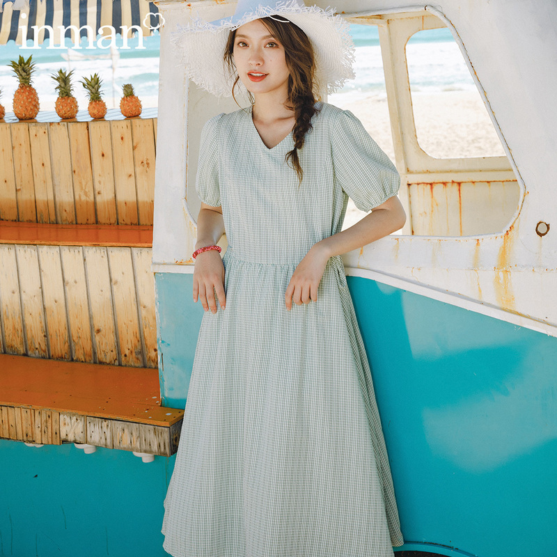 INMAN 2020 Summer New Arrival Girlish V-neck Nipped Waist Lace-up Cute Plaid Dress