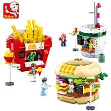 City streetscape  Building Block Fast Food Set  French fries burger Cola Drinks Shop Model DIY Bricks Blocks Toys Gift