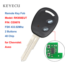 Keyecu Smart Remote Key Fob 2 버튼 FSK 433.92 MHz, Chevrolet Aveo 2009 2016 용 48 칩 모델: RK950EUT, P/N: CE0678