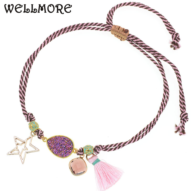 WELLMORE handmade bohemia anklet bracelet rope chain water drop anklets lace-up glass charm bracelet women Foot Jewelry