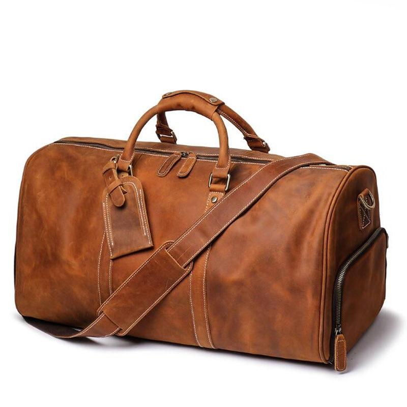 100% de cuero genuino bolsos de viaje de calidad para hombre equipaje de lona de gran capacidad con correa de hombro bolso de cuero de Caballo Loco