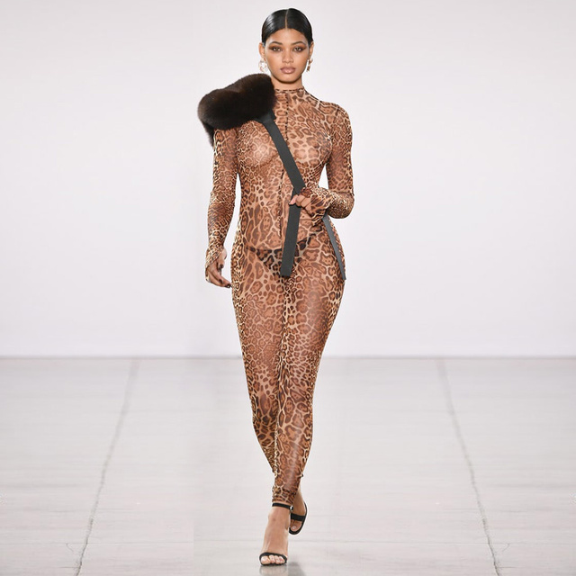 Sexy Turtle Neck Animalia Catsuit Stretchy Mesh Leopard Print Jumpsuits With Open Sleeves In The Style of Kylie jenner 2