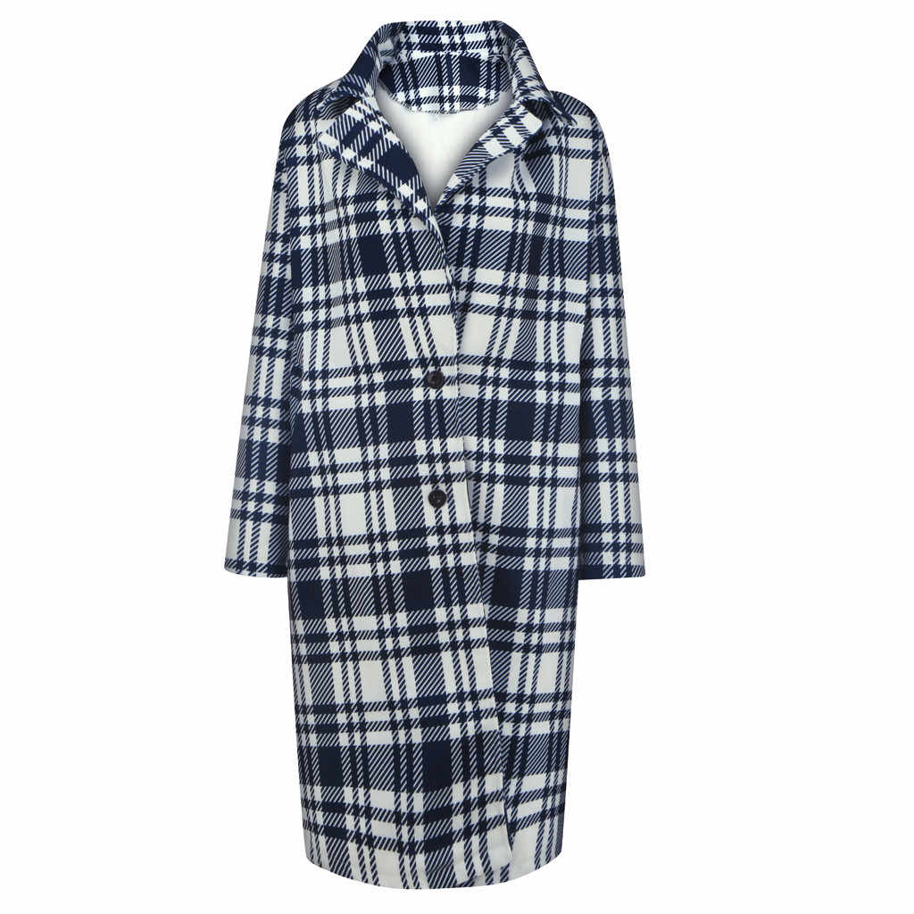 チェック柄ウールコートの女性秋冬厚みの暖かいフード付きトップスオフィスの女性ルースロングウール