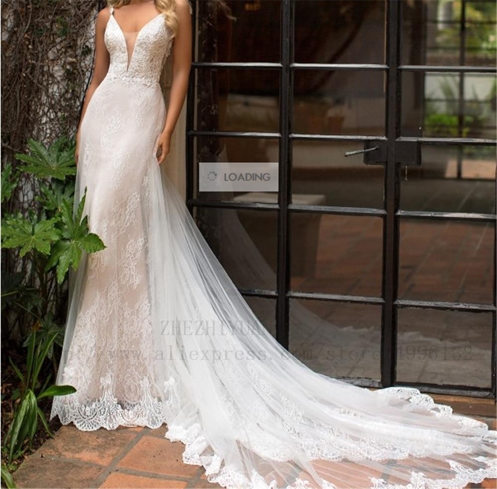 Spaghetti Straps Deep V-neck Ivory Sheath Tulle And Lace Appliques Beading Lace Dropped Wedding Dress Boho Vestido De Noiva 2019