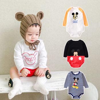 Disney śpioszki dla niemowląt ubranka dla niemowląt ubrania dla chłopców Roupas Bebe kombinezony dla niemowląt stroje dla niemowląt Mickey śpioszki dla niemowląt tanie i dobre opinie COTTON Poliester Cartoon O-neck Swetry Unisex Pełna YCWJ-1198 Pasuje prawda na wymiar weź swój normalny rozmiar