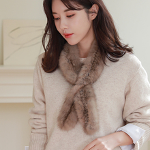 2020 Women's 100% Real Sable Fur Knitted Scarf Japan Natural Mink Fur Scarves Lady Fashion Winter Wraps Neck Warmer Little Size