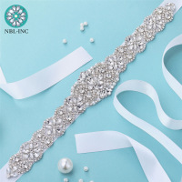 (1PC)Silver Rhinestones Bridal belt diamond wedding dress belts crystal satin wedding sash for wedding bridesmaid dress WDD1043 1