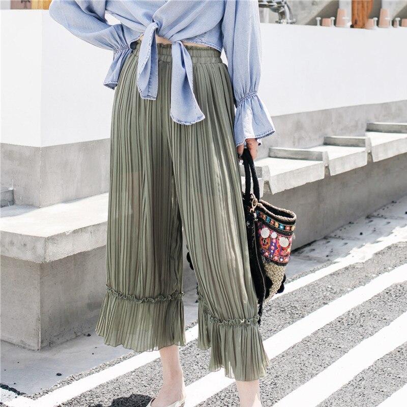 LANMREM Solid Color Elastic High Waist Chiffon Pleats Loose Plus Woman Nine Pants Casual Simple Fashion 2019 Autumn New TV524