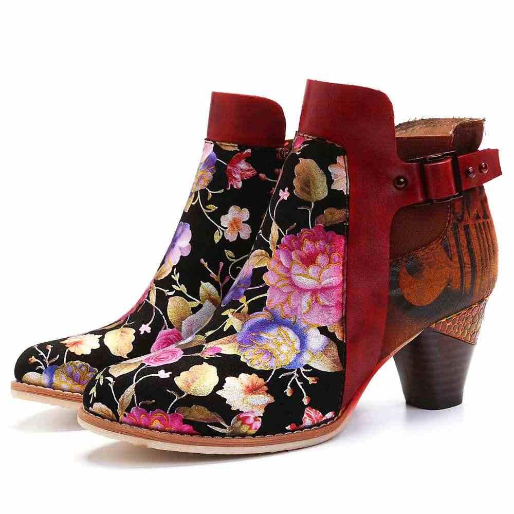 Socofy Retro Nở Hoa Kết Hợp Với Phong Cách Hiện Đại Thư Thanh Lịch Độc Đáo Cao Gót Giày Nữ Giày Nữ Botas Mujer 2020