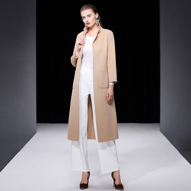 Vrouwen s winterjas roze dubbelzijdig wol kasjmier uitloper 2019 herfst plus size dames mode overjassen lange gratis schip - 3