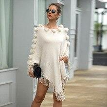 Плащ свитера пуловеры женские свитера с бахромой; зимняя одежда для женщин вязаный свитер