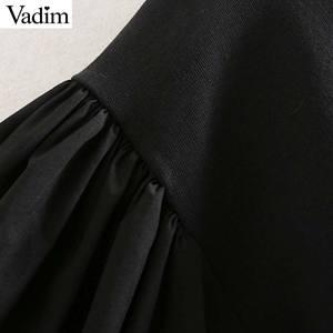 Image 3 - Vadim נשים שיק טלאי חולצות רפוי פאף שרוול O צוואר סוודרי להאריך ימים יותר אופנתי חולצות HA586