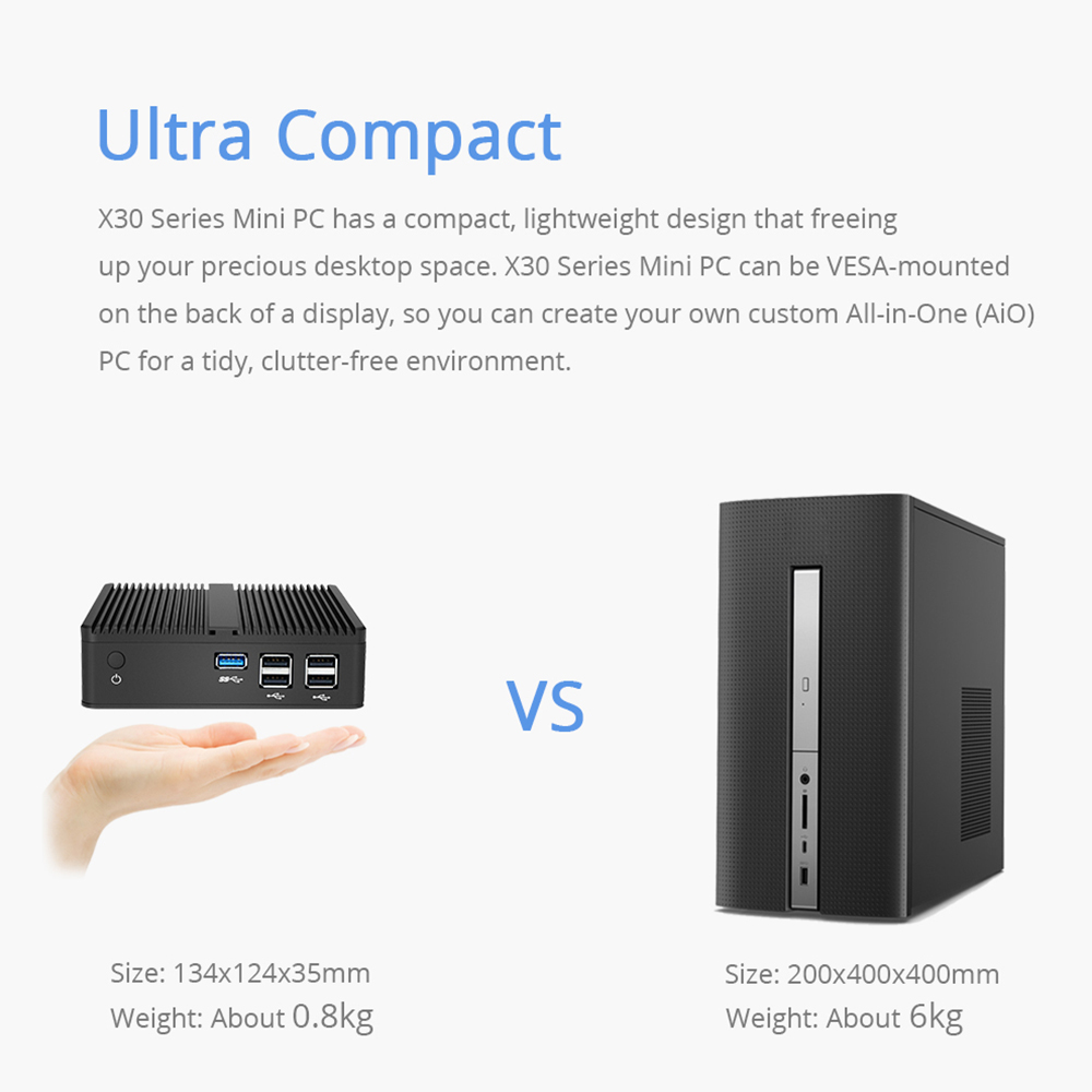 2019 latest mini pc 7th 8th Gen Core i7 7560U <font><b>8550U</b></font> Intel <font><b>Fanless</b></font> Mini Computer Win 10 4K HTPC image
