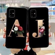 Alphabet Flower Couples Phone Case For Samsung Galaxy A01 A11 A21S A31 A41 A51 A71 4G A81 A91 Fundas 26 English Letters Cover