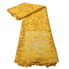 Cord-Fabric Skin-Friendly Guipure Lace Party-Dress Nigerian Yellow Eembroidery African