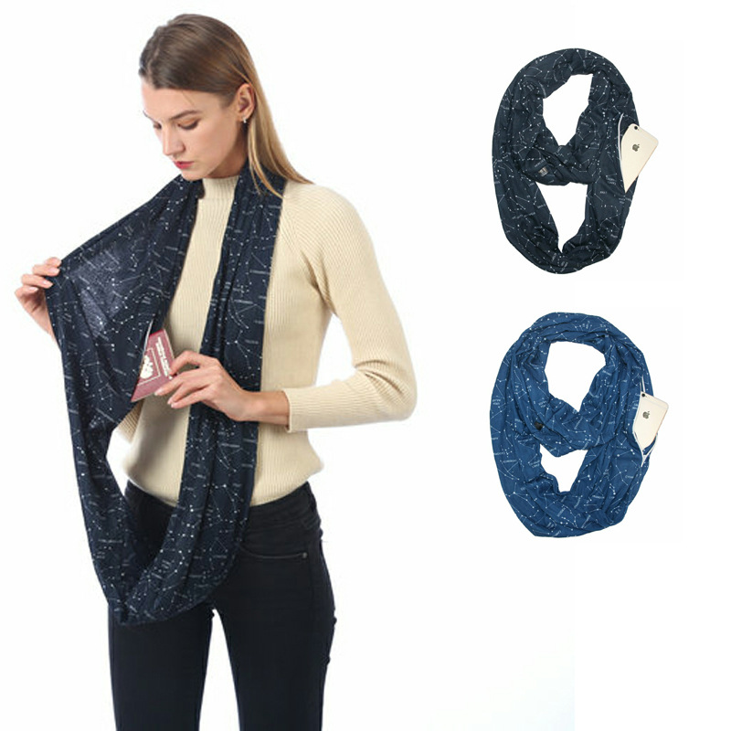Nisex Loop Scarves For Women Girls Lightweight Convertible Infinity Scarf Wrap With Hidden Zipper Pocket Stretchy Travel Scarf