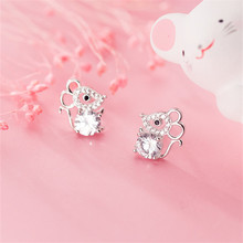 OBEAR 925 Sterling Silver Cute Mouse Micro Zircon Ear Studs Women Jewelry Girls Kid Birthday Gift Cu
