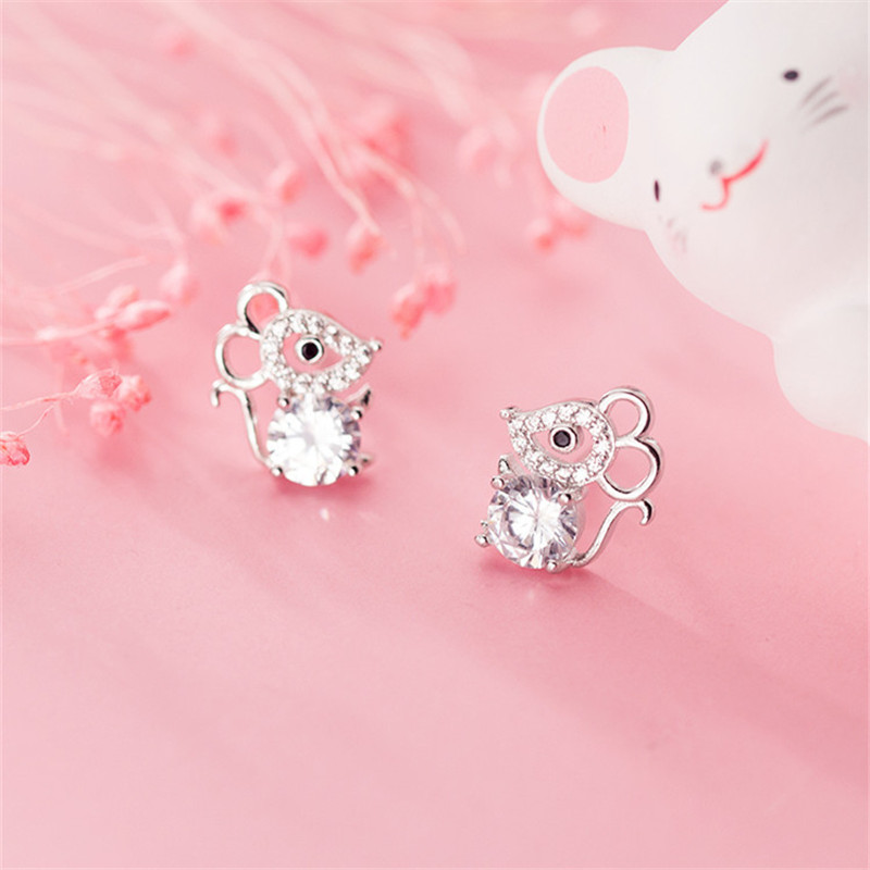 OBEAR  Siver Plated Cute Mouse Micro Zircon Ear Studs Women Jewelry Girls Kid Birthday Gift Cute Animal Earrings