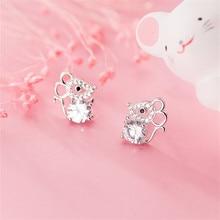 OBEAR Siver Plated Cute Mouse Micro Zircon Ear Studs Women Jewelry Girls Kid Birthday Gift Cute