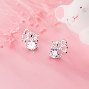 OBEAR  Siver Plated Cute Mouse Micro Zircon Ear Studs Women Jewelry Girls Kid Birthday Gift Animal Earrings - discount item  50% OFF Fashion Jewelry