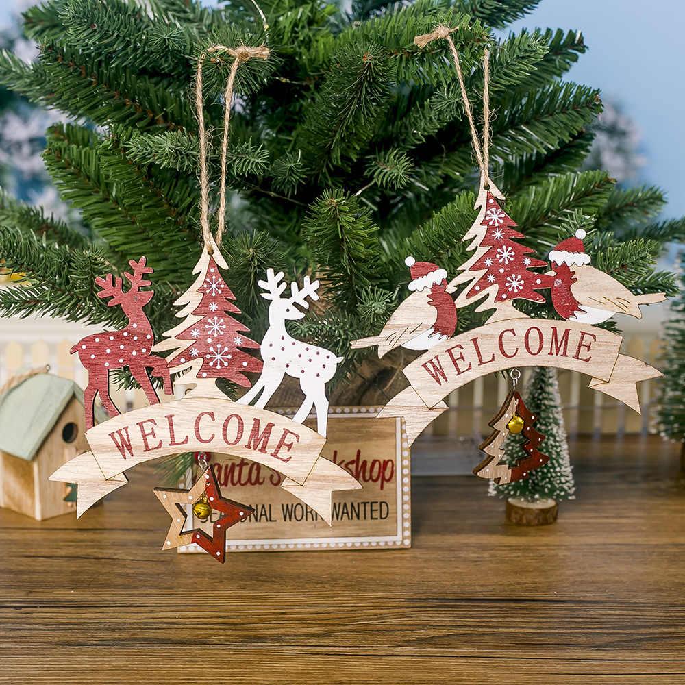 """12 unids/set colgantes de árbol de Navidad de madera natural DIY """"Feliz Año Nuevo"""" angel snowflake Star Party decoraciones artesanales ornamentos"""