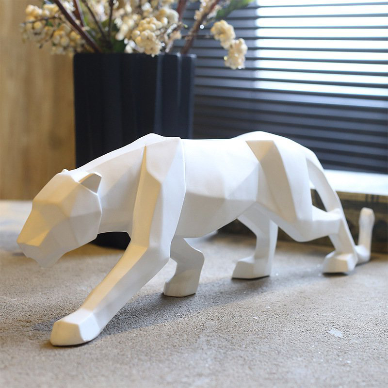 Leopard Figurine Modern Abstract Geometric Style Resin Panther Animal Statue Home Decoration Accessories Gift
