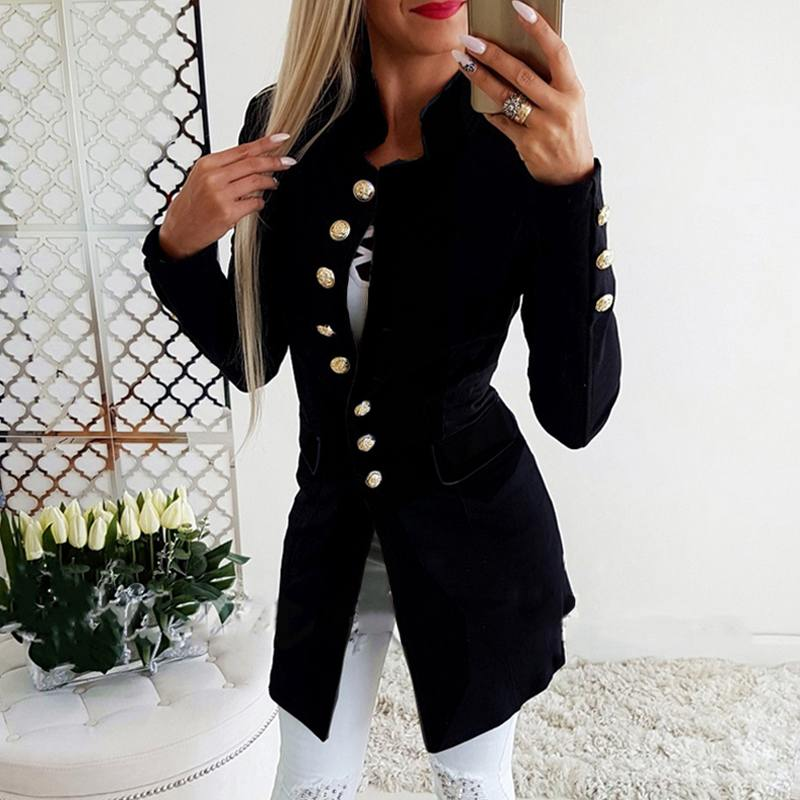 2019 Autumn Women Long Sleeve Formal Blazer Fashion Office Lady Slim Blazers Casual Jackets Coats Outwear Stand Collar Suits XXL