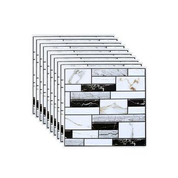 10 sztuk ściana kafelkowa naklejka strona główna łazienka kuchnia cegła 3D ściany dekoracyjne naklejki płytki sztuki Backsplash dekoracje ścienne 30x30Cm tanie i dobre opinie Black + white 0 4cm Płaska naklejka ścienna Paczka z wieloma częściami CN (pochodzenie) Na szkło lub do łazienki wall tile stickers
