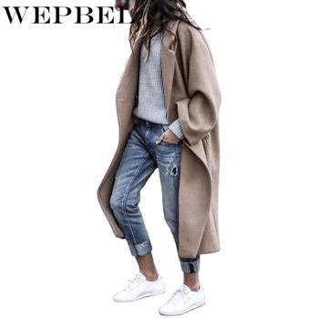 normov casual women woolen coats autumn winter turn down collar long sleeve button wide waisted coat loose solid coats WEPBEL Winter Long Sleeve Loose Turn-down Collar Single Button Warm Long Coat Women's Casual Solid Color Woolen Coat